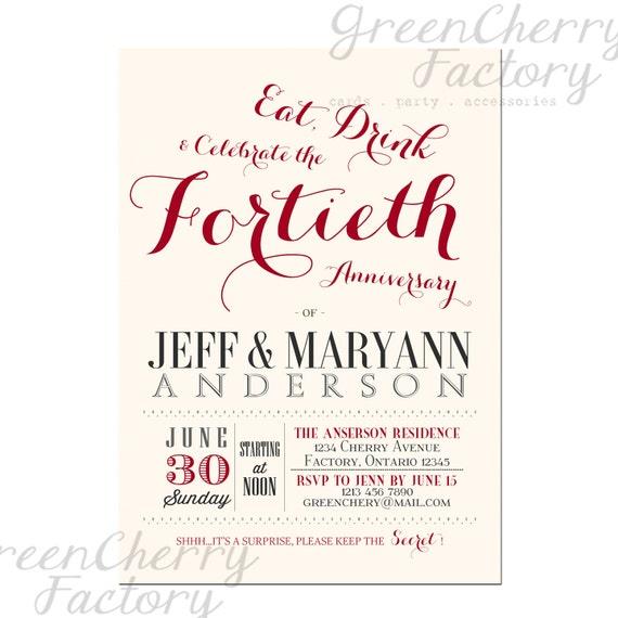 Items Similar To 40th Wedding Anniversary Invitation