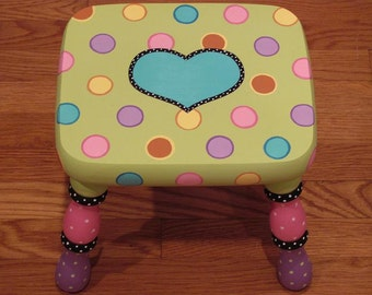 Custom Painted Lime Polka Dotted Step Stool