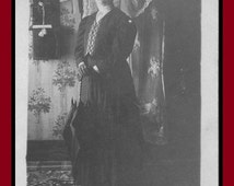 Classic Antique (1900s Vintage Mourning Woman: Black Hat, Gloves, Parasol & Wall-mounted Candlestick Crank Telephone) RARE Victorian Image