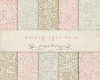 Charming Embossed Digital Papers -  for Photographers, Scrapbooking and Card Making ID060, Instant Download