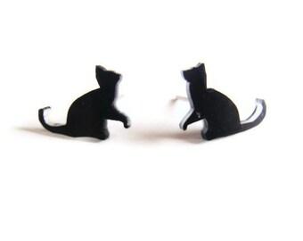 Black Cat Studs - Playful kitten earrings