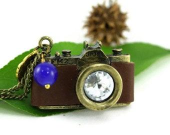 Camera Necklace, Miniature Rustic Preppy Retro Brown Leather Mini Shutterbug Wedding Photographer Gift Photog Wanderlust Travel Photography