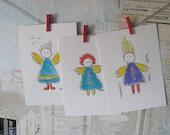 SALE: 3 Original Cards Guardian angel on eco-friendly paper