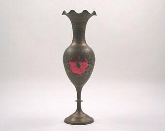 Brass Elephant and Poppy Vase
