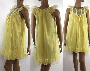 Vintage 1960s Gown Yellow Chiffon Baby Doll Pinup Viva Las Vegas Burlesque Marilyn Monroe Sexy Pinup VLV