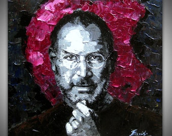 Hand oil painting,modern canvas painting for home decor,framed,ready to hang,30''x30'' original palette knife painting Steve Jobs