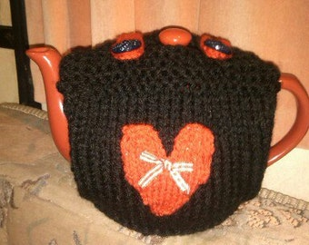 TEA COSY Hand Knitted Heart Tea Cozy - Tea Cosy Top Opening - Button Finish Tea Cosy - Black Goth Tea Cosy Red Heart Tea Cosy Valentine Cosy