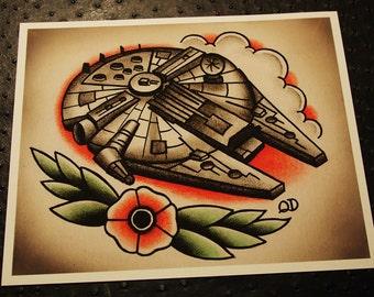 """8""""x10"""" Millennium Falcon Tattoo Print"""