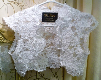 Butterfly White Corded Lace Bridal Bolero Shrug  Free Shipping