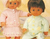 Vintage Dollpremature baby clothes knitting pattern (1040) 121620 inches PDF knitting pattern