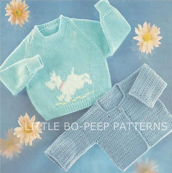 Knitting Pattern Dog Motif : Dog Motif baby jumper knitting pattern and Crochet Cardigan