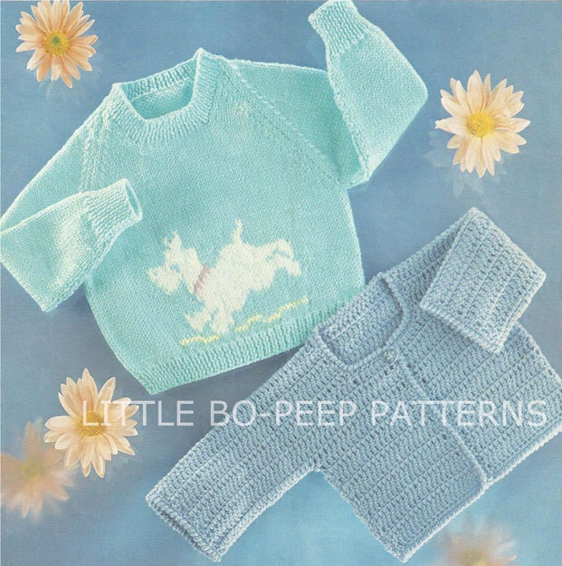 Knitting Pattern With Dog Motif : Dog Motif baby jumper knitting pattern and Crochet Cardigan