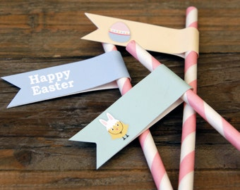 Easter -  Straw Flags - Printable - psDre Party Printables