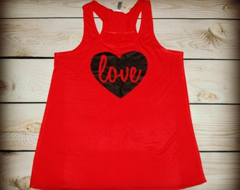 Love - heart- Racerback Tank Top- Sizes S-XL. Other Colors Available