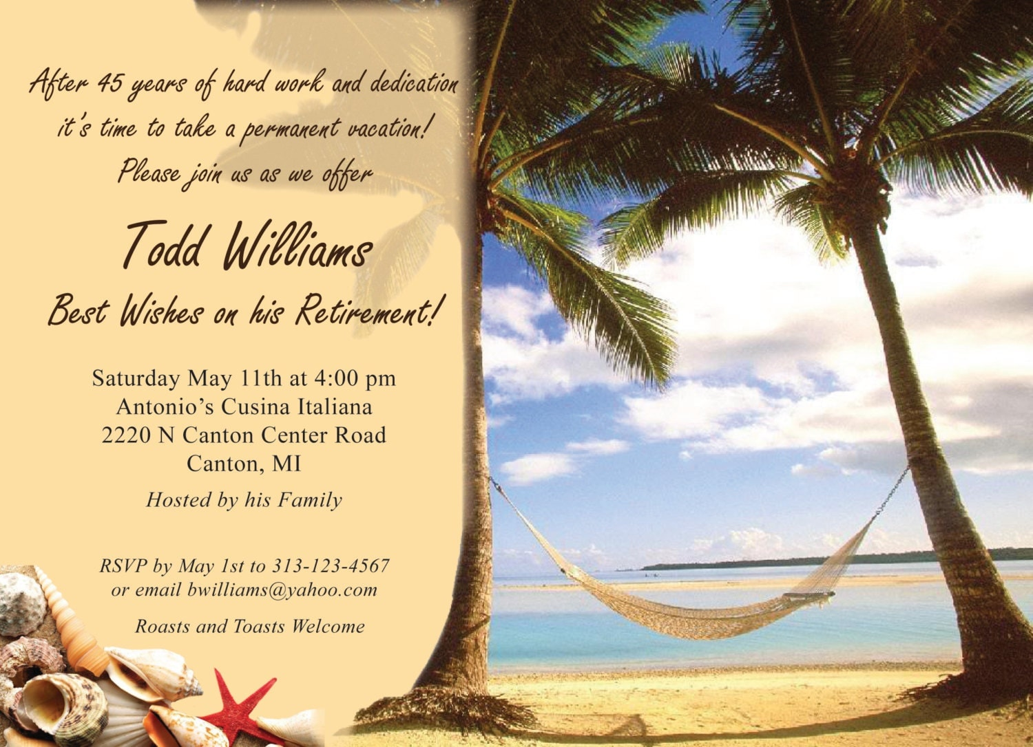 vacation theme retirement party invitation by trishadesigncreation