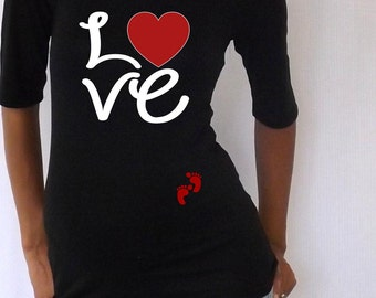 """Cute Maternity Shirt """"Love"""" with footprints; Valenitne's day matenrity shirt, pregnancy clothes."""