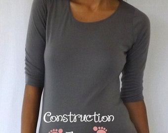 "Maternity Gray Maternity ""Construction Zone"" Shirt with PINK lettering"