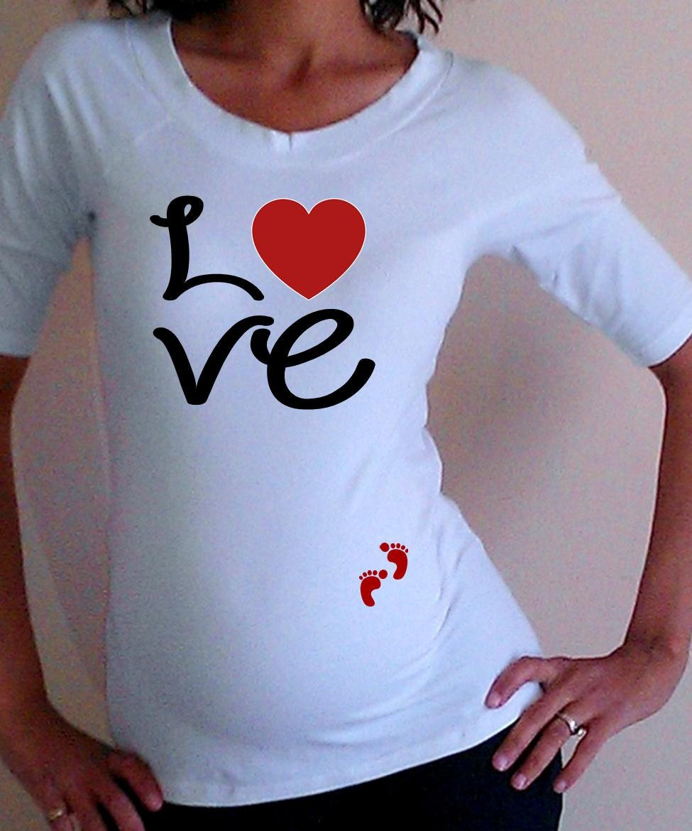 maternity cute love maternity shirt white