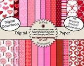 Digital Heart Paper - Instant Download, Printable Digital Paper, Pink & Red Hearts Stripes, Scrapbook Background Paper
