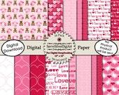 Digital Heart Paper - Instant Download, Printable Love Paper, Hugs & Kisses, Pink Red Heart Paper, Scrapbook Digital Paper
