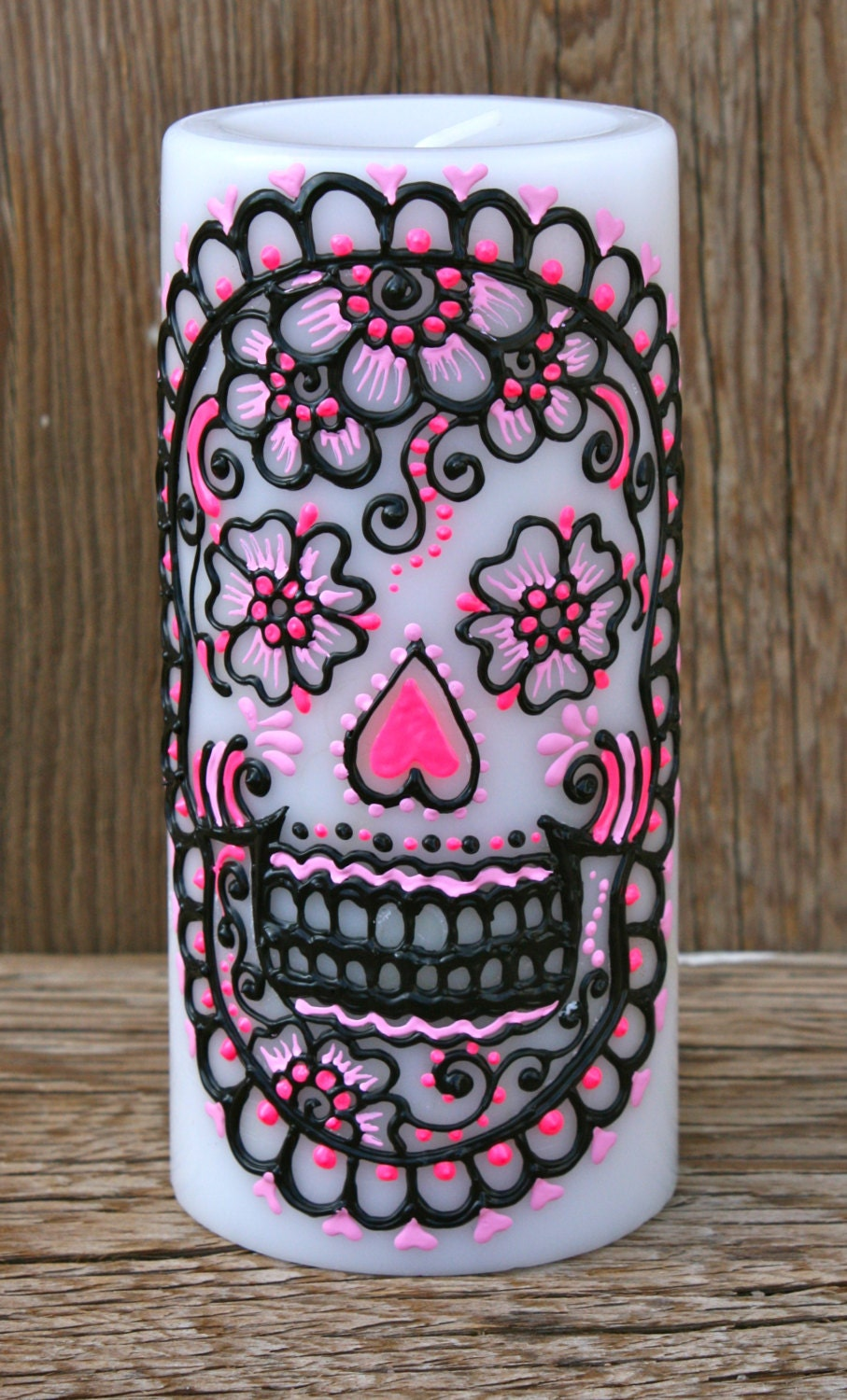 Painted Sugar Skull Pillar Candle White Pillar Candle Day of