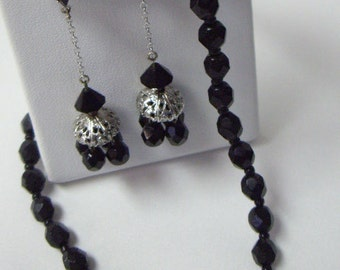 Vintage Black Glass Beaded Necklace and Dangle Earring Set