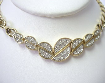 Vintage TRIFARI White Rhinestone Choker Necklace