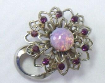 Vintage Fire Opal Purple Rhinestone Lapel Pin Brooch