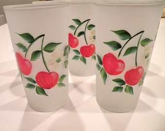 Hazel Atlas Frosted, Hand-Painted Cherry Glasses