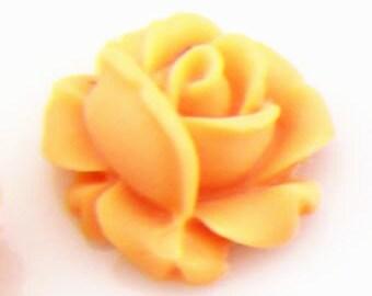 12 pcs of resin rose bud cabochon-13mm-0476-11-orange