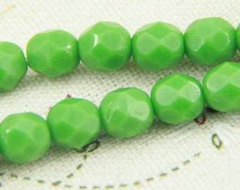 25 pcs strand of Czech glass polished beads-6mm-9017- Opaque  green
