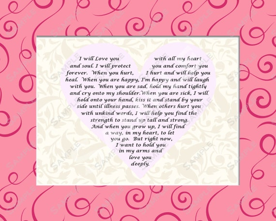 items similar to baby girl gift daughter love poem 8 x 10