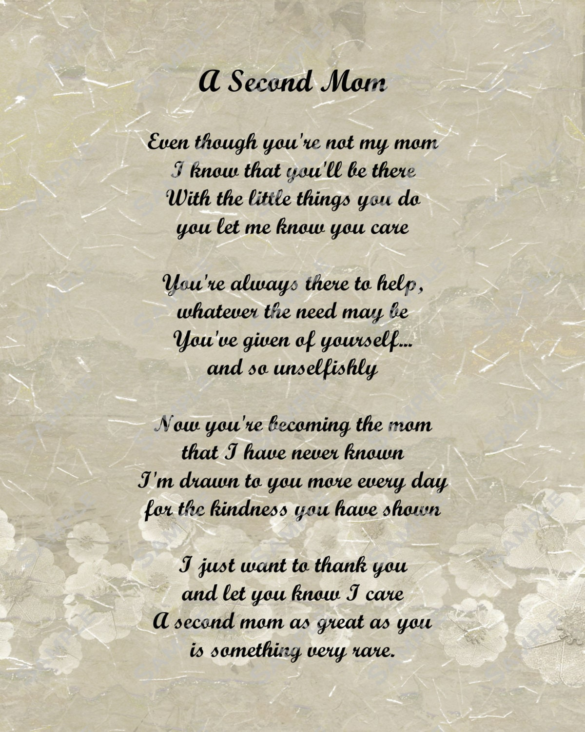 Items Similar To A Second Mom Love Poem For Stepmom 8 X 10
