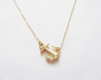 Gold Sideways Anchor Necklace - Anchor Necklace - Gold Anchor Necklace - Light Necklace - Dainty Anchor Necklace