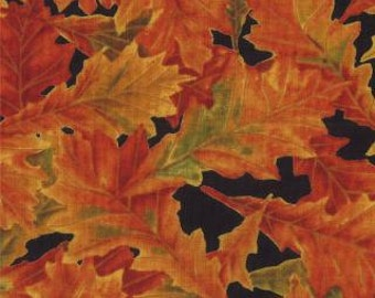 FOLIAGE by Sentimental Studios for Moda 328512  Orange, yellow, green leaves/black background.