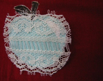 SALE Laced Aqua Apple Brooch (includes Greeting Card)