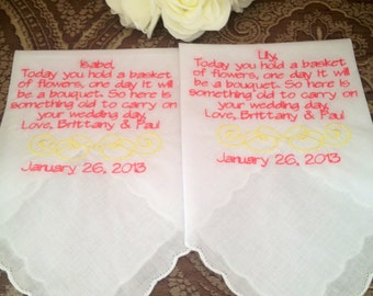set of two flower girl personalized Handkerchiefs