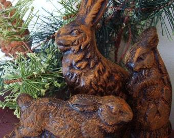 3 ANTIQUE BUNNY RABBIT Blackened Beeswax Primitive Chocolate Mold Wax Castings Folk Art Rabbits