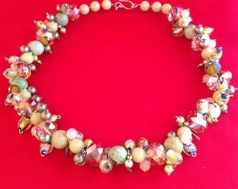 Multi-dimensional Multi-Gemstone green necklace