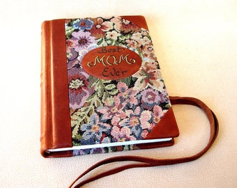 Mother's Day Gift, Gift for Mom, Personalized Leather Journal, Unique Notebook, Hardcover Blank Book, Rustic Leather, Floral Fabric, A5