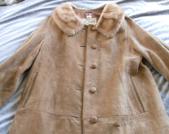 Vintage Brown Suede Coat  with Mink Fur Collar by Begedor Made in Israel