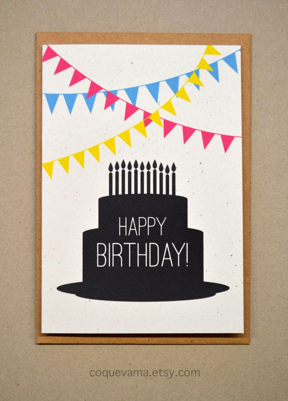 Items Similar To Birthday Card A6 Cake Silhouette On Etsy