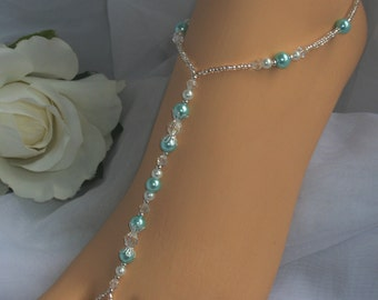 Bridal Barefoot Sandal Aquamarine Pearl Foot Jewelry