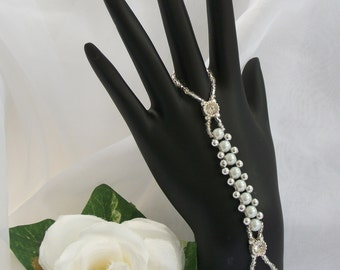Pearl & Silver Hand Jewelry Bridal Jewelry