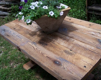 Farm House Table, Rough Sawn Lumber from Reclaimed Barn Beams/Joists