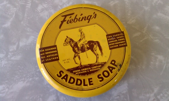 Vintage 1950s Yellow Fiebing's Saddle Soap Tin Fiebing Chemical Company Milwaukee Wisconsin