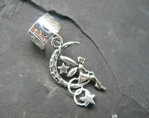 fairy on moon ear cuff star charm silver toned cuff in fantasy hipster boho gypsy  hipster and hippie style