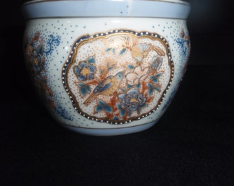 China Oriental Bowl in Blue,Brown and Enameled in Gold