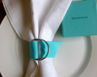 A set of 6 Tiffany & Co Inspired (Robbins Egg Blue) grosgrain D-Ring napkin rings by Valmichaels