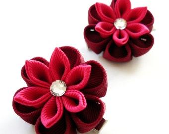 Kanzashi  Fabric Flowers. Set of 2 hair clips. Bordo and fushia.